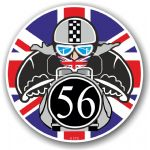 Year Dated 1956 Cafe Racer Roundel Design & Union Jack Flag Vinyl Car sticker decal 90x90mm